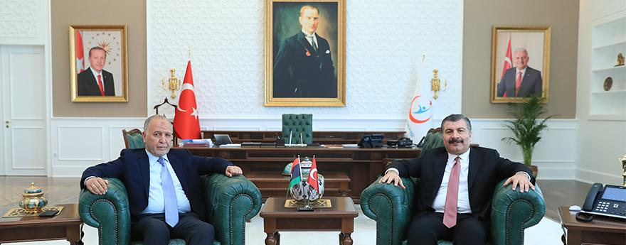 Sayın Bakanımız Dr Fahrettin Koca, Libya'nın Ankara Büyükelçisi Abdurrazaq Mukhtat'ı Kabulü (28 Ağustos 2018)