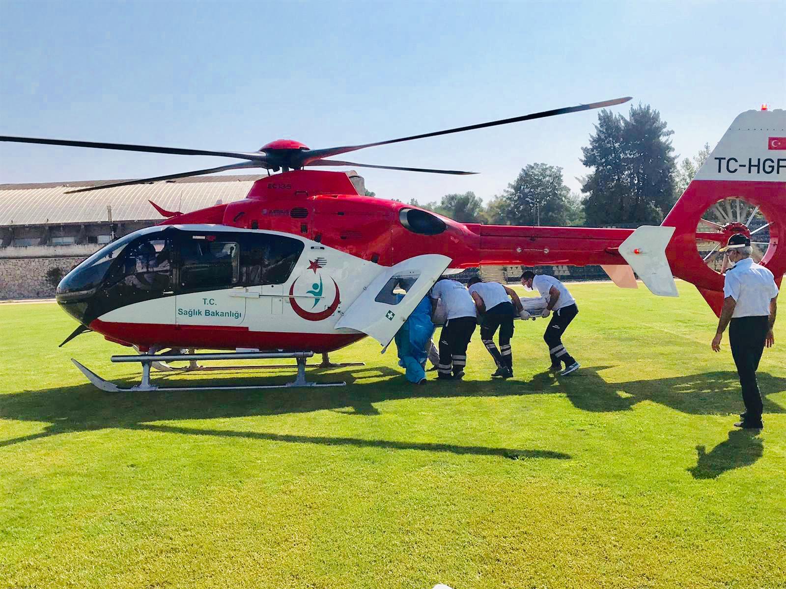 Helikopter Ambulans Trafik Kazasında Yaralanan Vatandaş İçin Havalandı